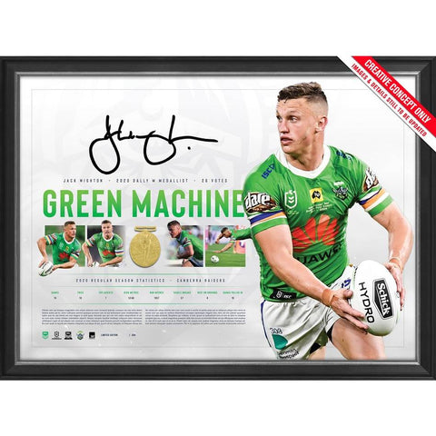 Jack Wighton Signed Canberra Raiders 2020 Dally M Official NRL Print Framed - 4554
