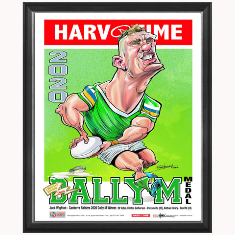 Jack Wighton Canberra Raiders 2020 Dally M Harv Time Print Framed - 4663