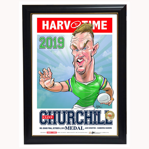 Jack Wighton Canberra Raiders 2019 Clive Churchill L/E Harv Time Print Framed - 3848
