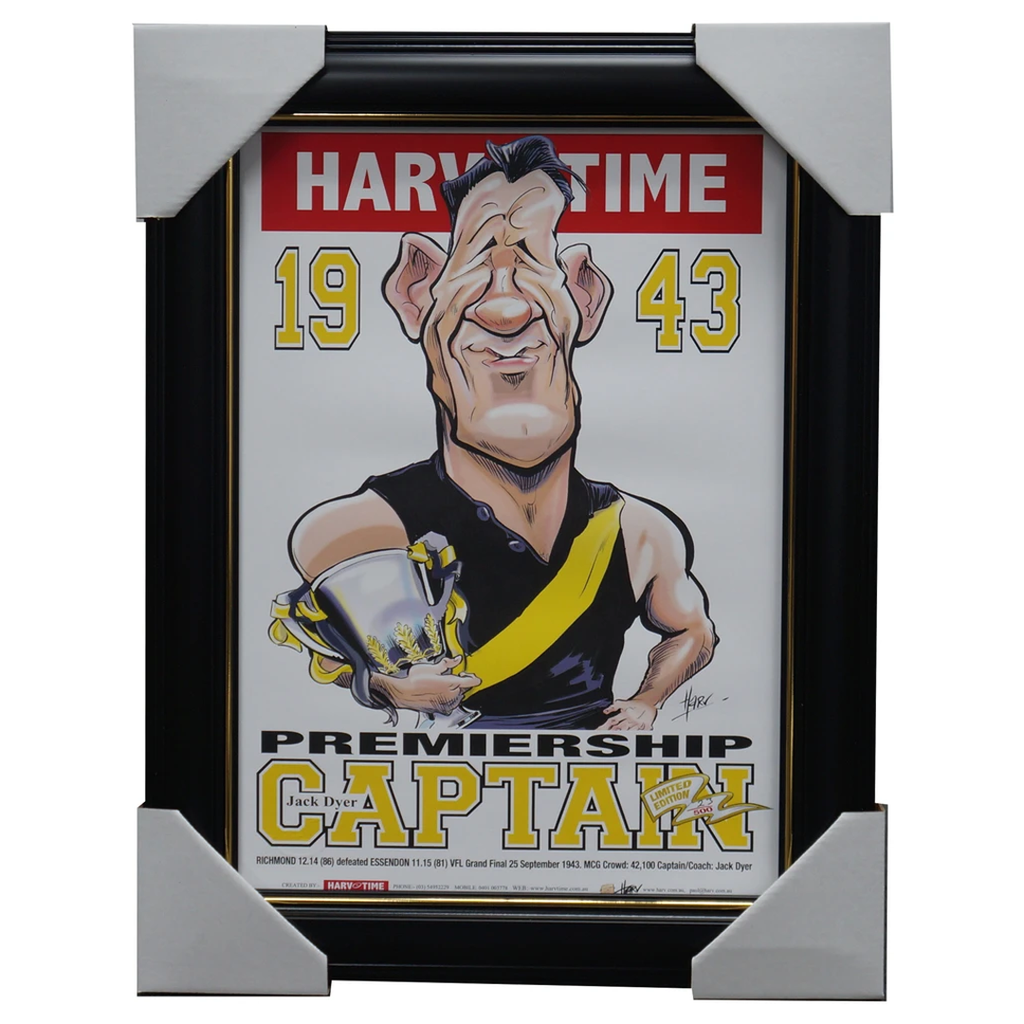 Jacky Dyer Richmond 1943 Vfl Premiership Captain Harv Time L/e Print Framed - 3162