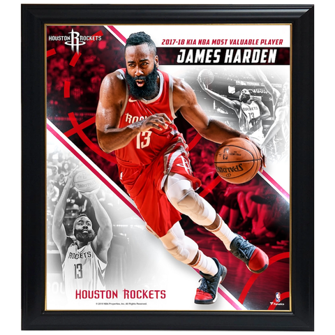 James Harden Houston Rockets 2018 NBA MVP Collage Official NBA Print Framed - 4410