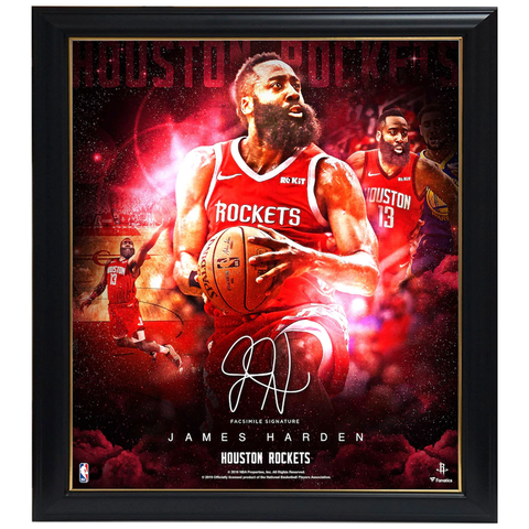 James Harden Houston Rockets Facsimile Signed Official NBA Print Framed - 3957