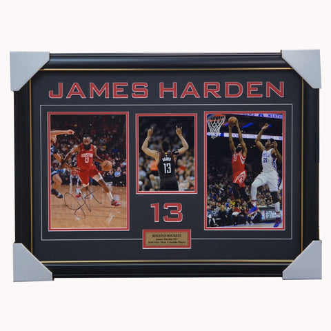 James Harden Signed Houston Rockets NBA Photos Framed 2018 NBA MVP + COA - 3576