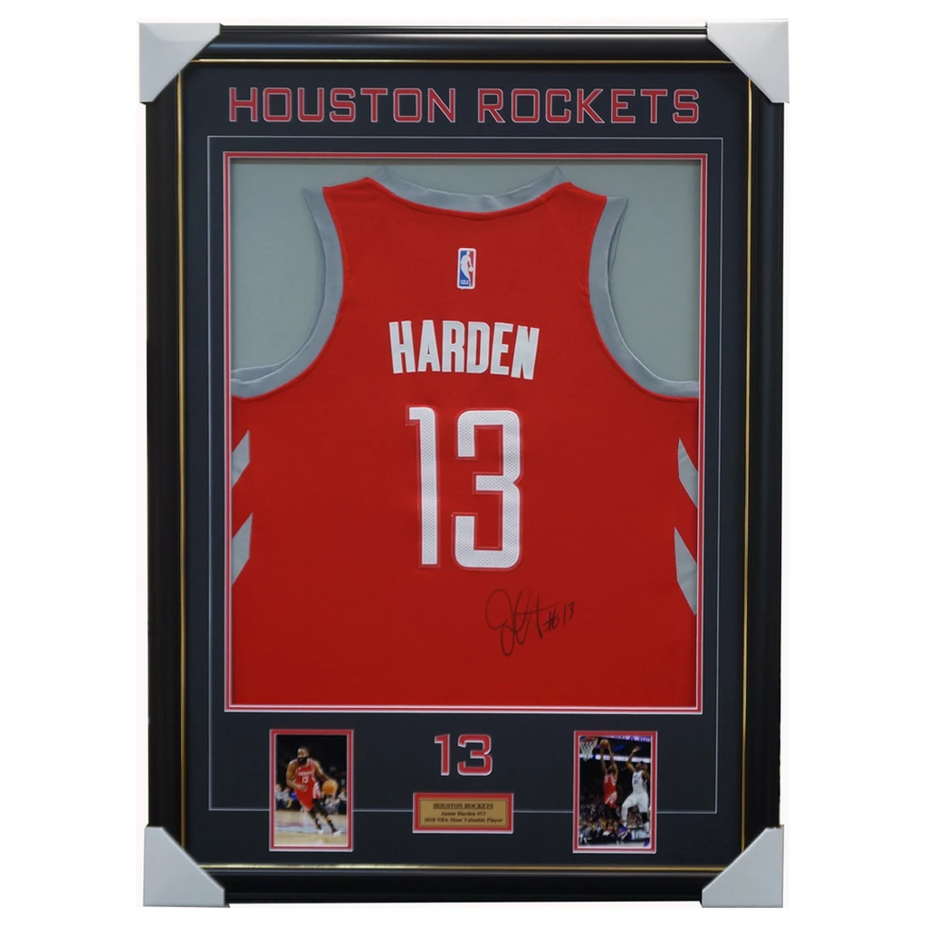 James Harden Signed Houston Rockets Jersey Framed With Photos 100% Authentic + Coa - 1905