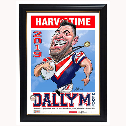 James Tedesco Sydney Roosters 2019 Dally M Medallist L/E Harv Time Print Framed - 3828
