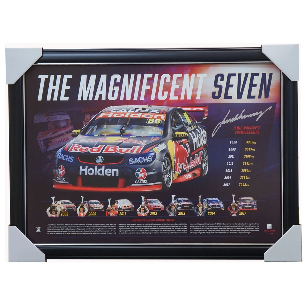 Jamie Whincup Signed The Magnificent Seven V8 Supercars Champion Print Framed - 3575