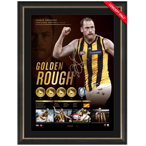 "Jarryd Roughead Signed ""Golden Rough"" Hawthorn Retirement Lithograph Framed - 3766"