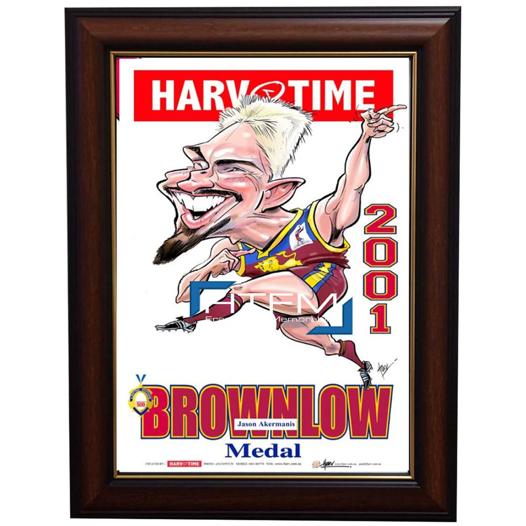 Jason Akermanis Brisbane Lions 2001 Brownlow Medal Harv Time L/e Print Framed - 2632