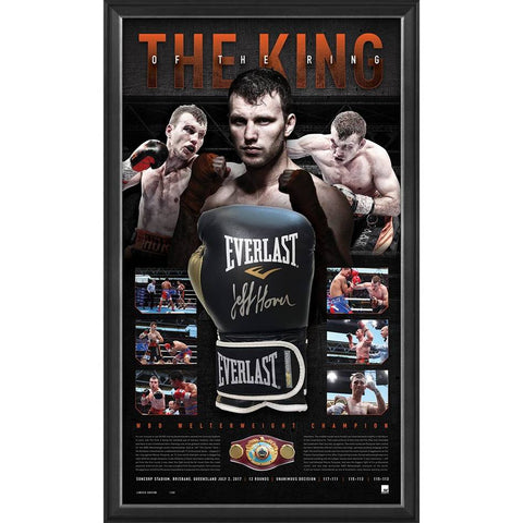"Jeff Horn Signed Official Boxing Glove Box Framed ""The King of the Ring"" - 4459"