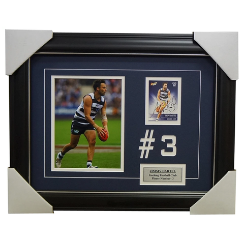 Jimmy Bartel Geelong Signed Card Collage Framed - 4035