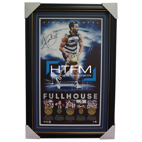 Jimmy Bartel Signed Geelong Full House AFL Official Print Framed Brand New - 1796