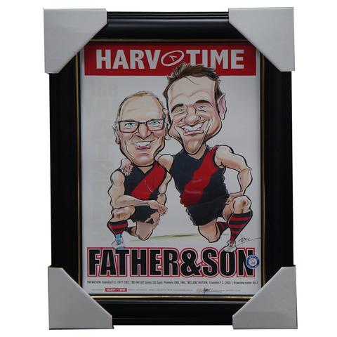 Jobe Watson and Tim Watson Father & Son Essendon Harv Time L/E Print Framed - 3158