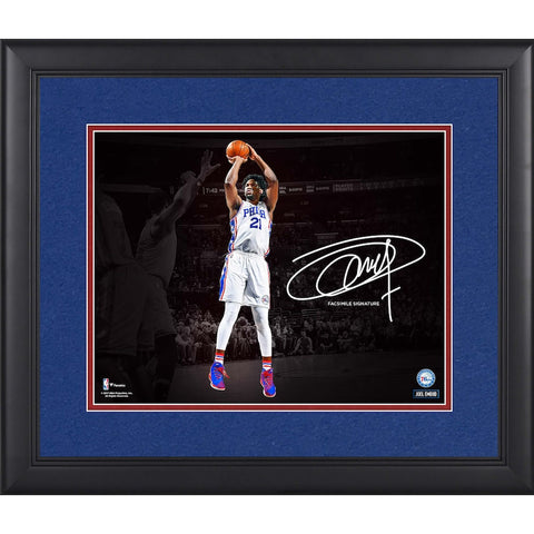 "Joel Embiid Philadelphia 76ers Framed 11"" x 14"" Spotlight Photograph - Facsimile Signature Fanatics Official - 4621"