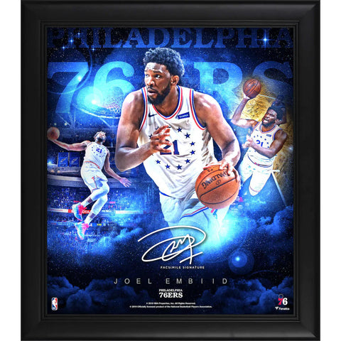 "Joel Embiid Philadelphia 76ers Framed 15"" x 17"" Stars of the Game Collage - Facsimile Signature Fanatics Official - 4620"