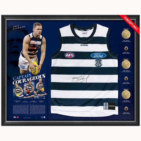 Joel Selwood Signed Official AFL Geelong 'Captain Courageous' Guernsey Framed 300 Games - 4432