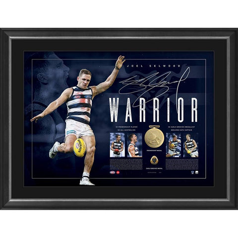 Joel Selwood Signed Official Afl Geelong 'warrior' Lithograph Framed 300 Games With Medals - 4433