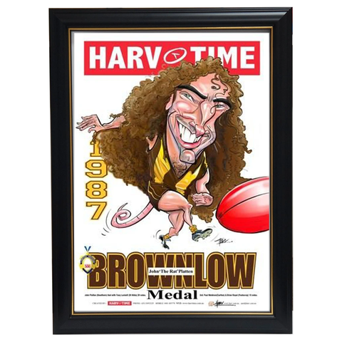 John Platten 1987 Brownlow Hawthorn Harv Time Limited Edition Print Framed - 3611