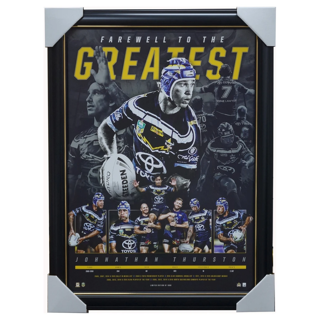 Johnathan Thurston North Queensland Greatest Retirement Official NRL Print Framed - 3503