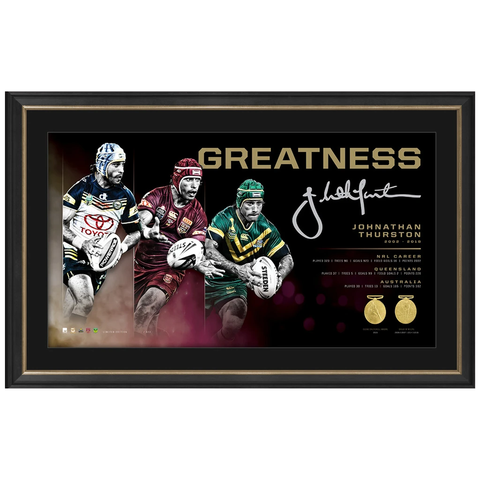 Johnathan Thurston Signed Greatness Retirement Print Framed with Medallions - 3980