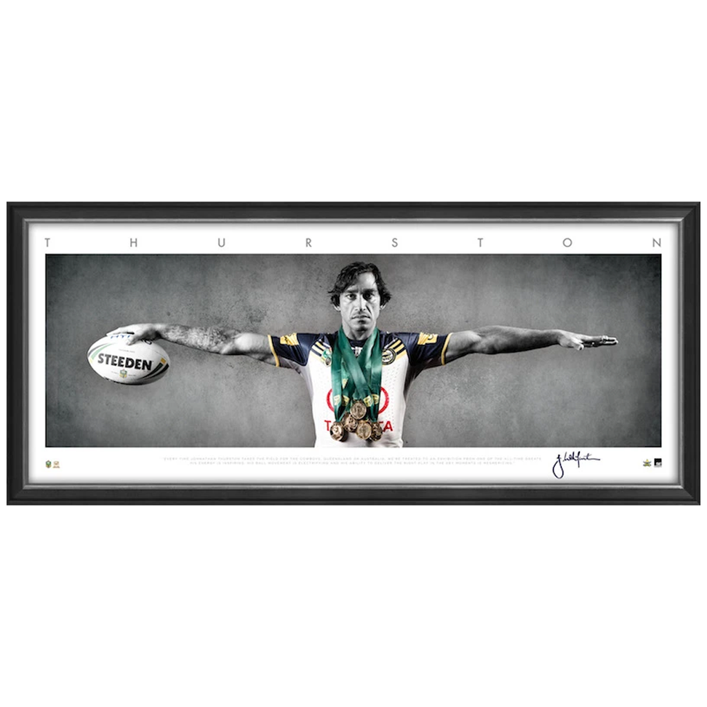 Johnathan Thurston Signed Mini Wings North Queensland Cowboys Nrl Print Framed - 3285