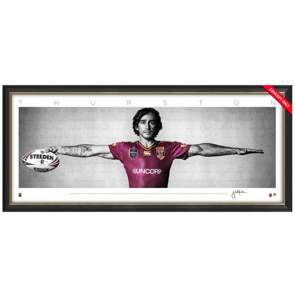 Johnathan Thurston Signed Mini Wings Queensland State of Origin Nrl Print Framed - 3677