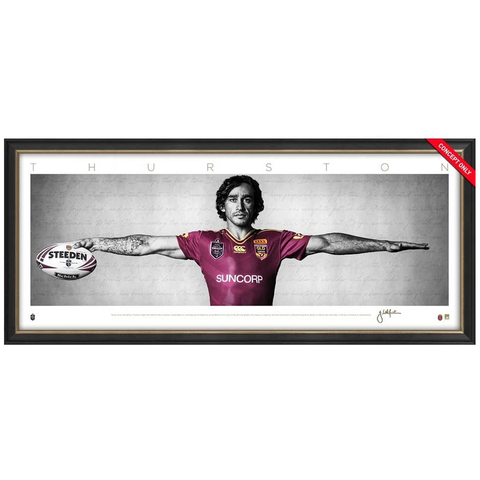 Johnathan Thurston Signed Mini Wings Queensland State of Origin NRL Print Framed - 3677 FREE SHIPPING
