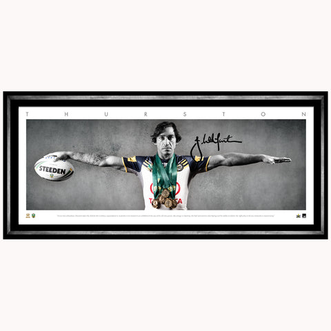 Johnathan Thurston Signed North Queensland Cowboys Official Nrl Full Size Wings Print Framed - 4478