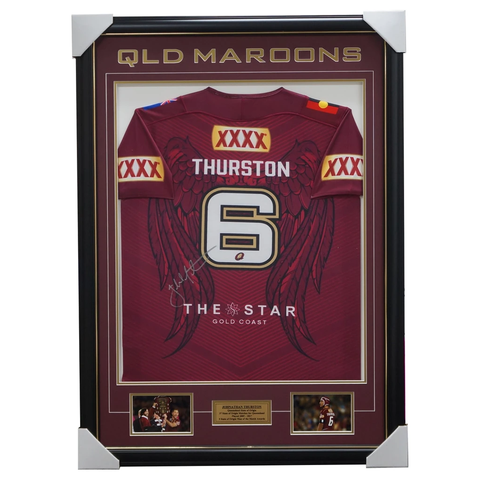 Johnathan Thurston Signed Queensland 2017 State of Origin No.6 Signed Jersey Framed - 3243