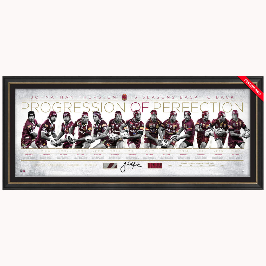 Johnathan Thurston signed Queensland State of Origin Progression of Perfection Official Print Framed - 4477