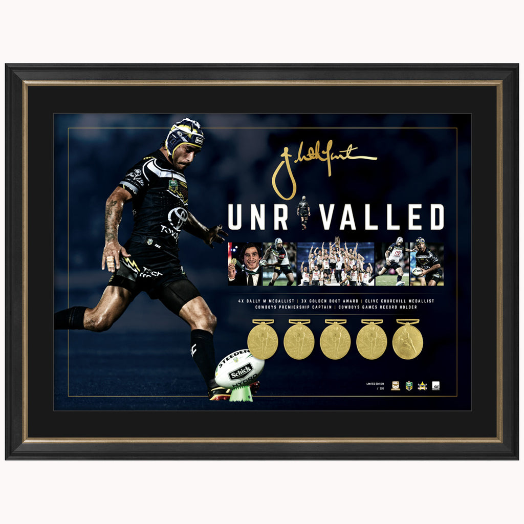 Johnathan Thurston Signed North Queensland Cowboys Unrivalled Retirement Print Framed - 3949