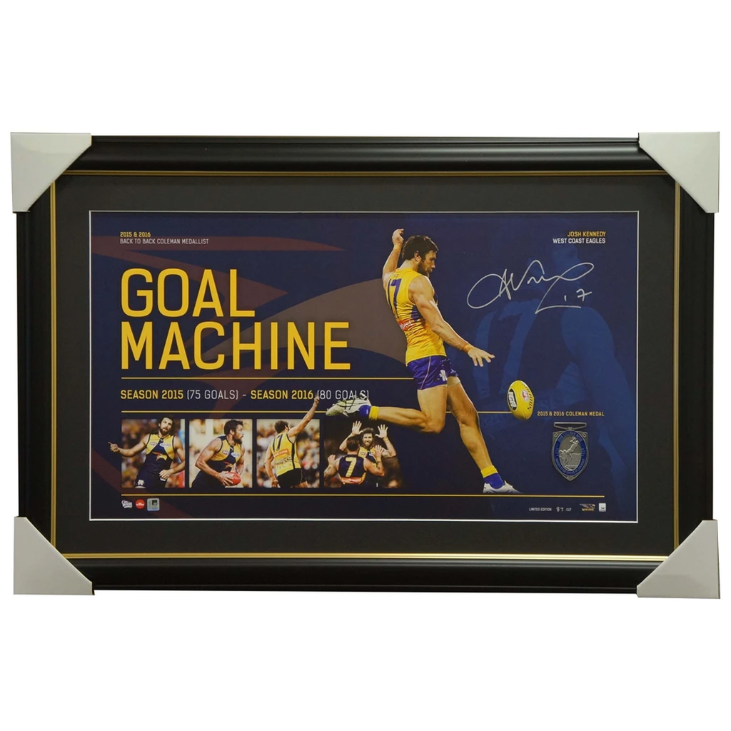 Josh Kennedy Signed West Coast Eagles Coleman Medallist Afl Print Framed Goal Machine - 2935