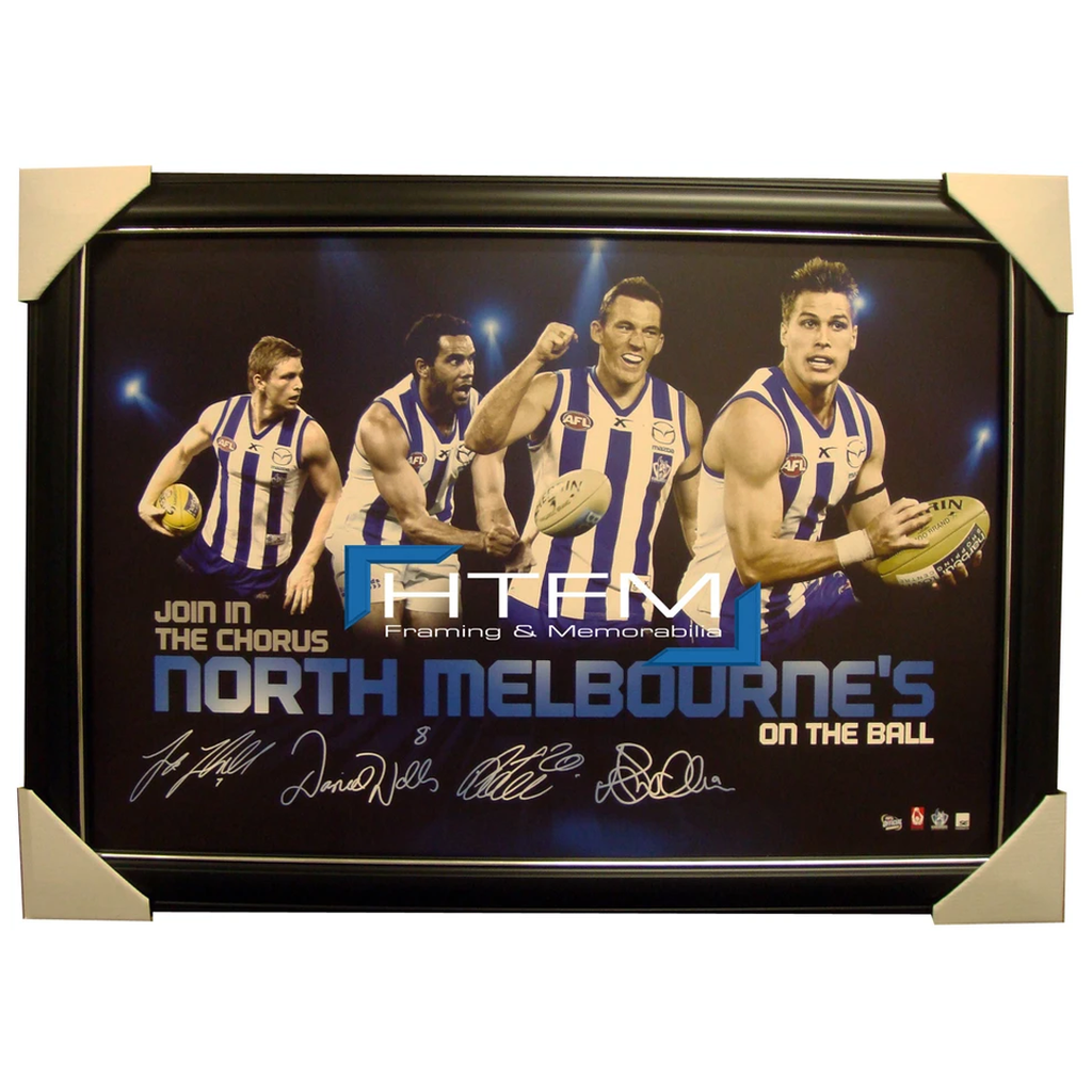 Kangaroos Four Player Facsimile Afl Official Licensed Print Framed Petrie - 1728