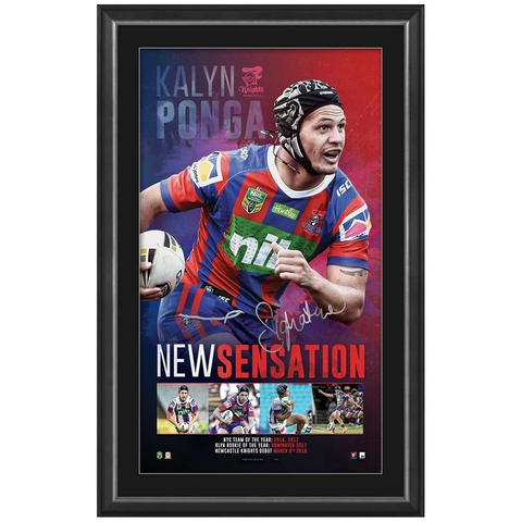 Kalyn Ponga Signed Newcastle Knights Official NRL Print Framed - 3934