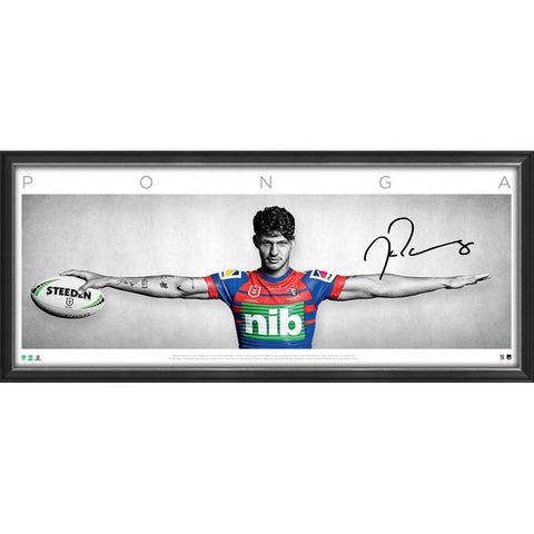 Kaylyn Ponga Signed Newcastle Knights Official NRL Wings Print Framed - 4724