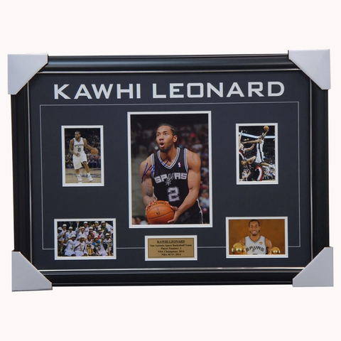 Kawhi Leonard Signed San Antonio Spurs 2014 NBA Champions Photo Collage Framed 100% Authentic - 3871