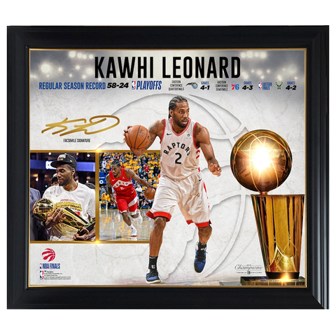 Kawhi Leonard Toronto Raptors 2019 NBA Finals Champions Collage Official NBA Print Framed - 4358