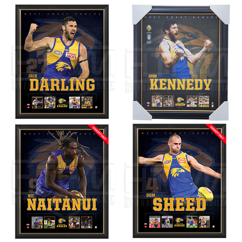 West Coast Eagles Package Official Licensed Afl Prints Framed Kennedy Darling Naitanui Sheed - 4497