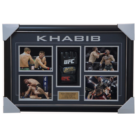 Khabib Nurmagomedov Signed UFC Glove Box Framed with Photos - UFC Champion + COA - 1902