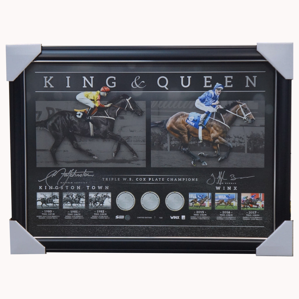 Kingston Town & Winx King & Queen Official Triple Cox Plate Champion Signed Print Framed - 3723