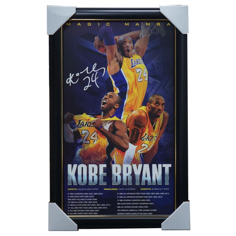 Kobe Bryant Signed LA Lakers Magic Mamba Print Framed - NBA Champions MVP - 3470