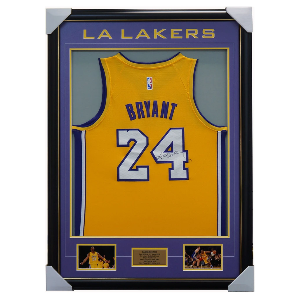 Kobe Bryant Signed LA Lakers  Yellow Jersey Framed 100% Authentic - 1932