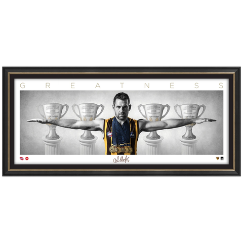 "LUKE HODGE SIGNED AFL OFFICIAL HAWTHORN MINI WINGS ""GREATNESS"" PRINT FRAMED - 3149"