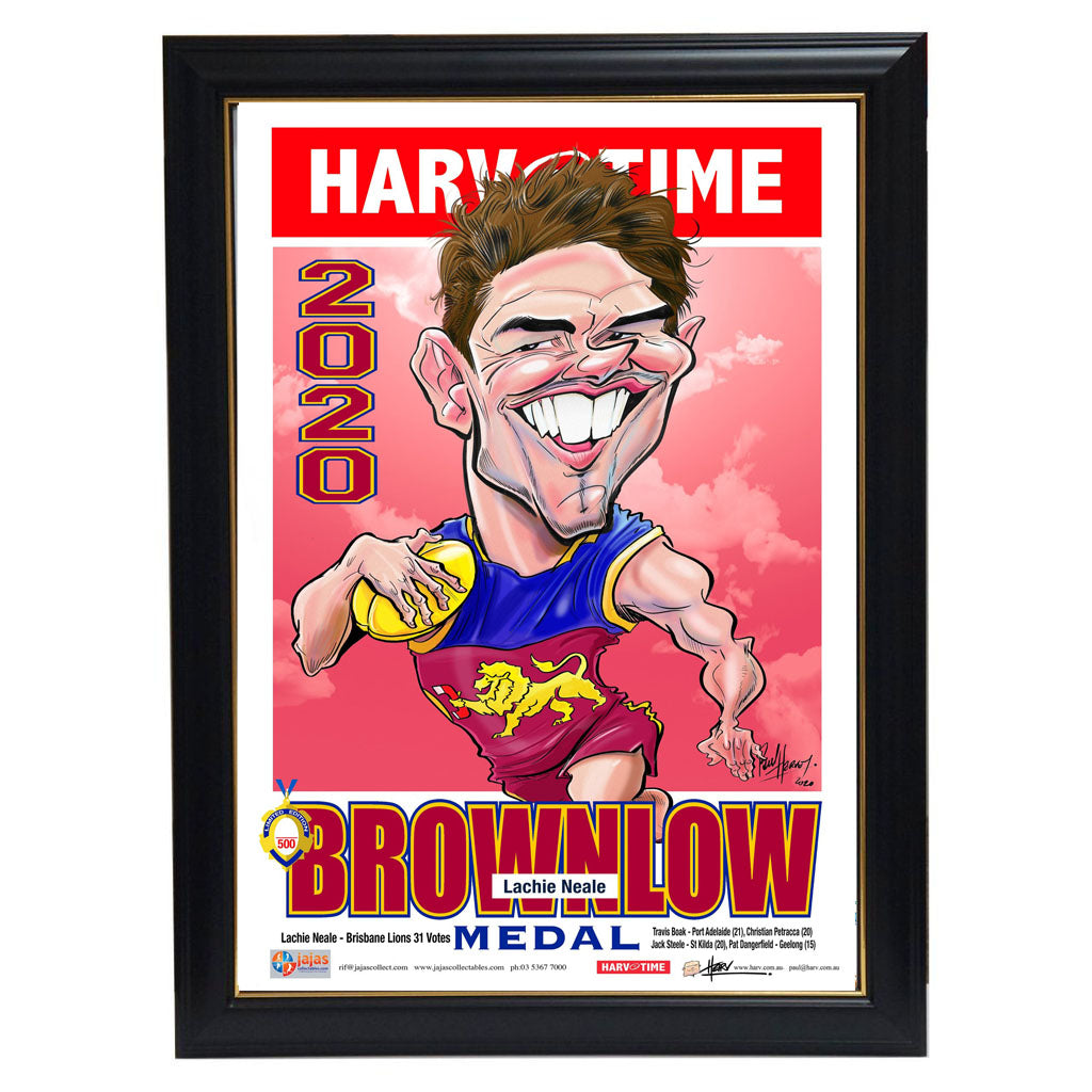 Lachie Neale 2020 Brownlow Medal Brisbane Lions Harv Time Limited Edition Print Framed - 4552