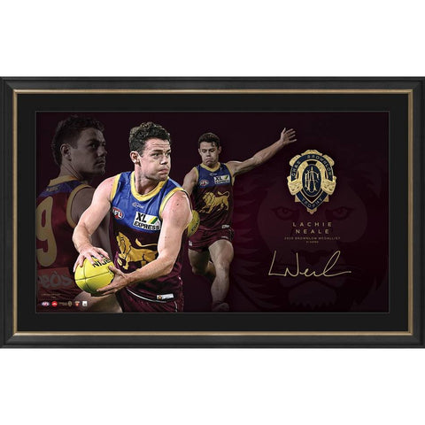Lachie Neale Brisbane Lions 2020 Official AFL Brownlow Medal Lithograph Framed  - 4549