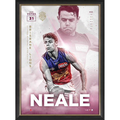 Lachie Neale 2020 Official Afl Brisbane Lions Brownlow Medal Sportsprint Framed - 4550
