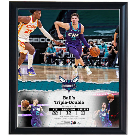 "LaMelo Ball Charlotte Hornets Framed 15"" x 17"" Youngest Player Triple Double Collage Official Fanatics - 4609"