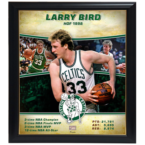 Larry Bird Boston Celtics Player Collage Facsimile Signed Official NBA Print Framed - 4342