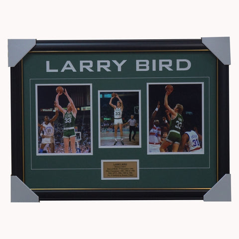 Larry Bird Signed Boston Celtics Photo Collage Framed 3 x  NBA Champions + COA - 2986