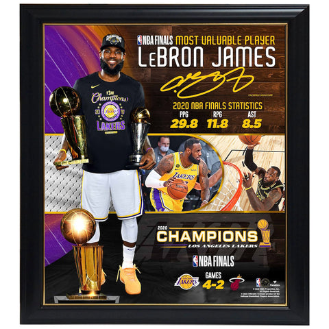 "Lebron James Los Angeles Lakers Fanatics Authentic Framed 15"" X 17"" 2020 Nba Finals Mvp Collage Frame - 4576"