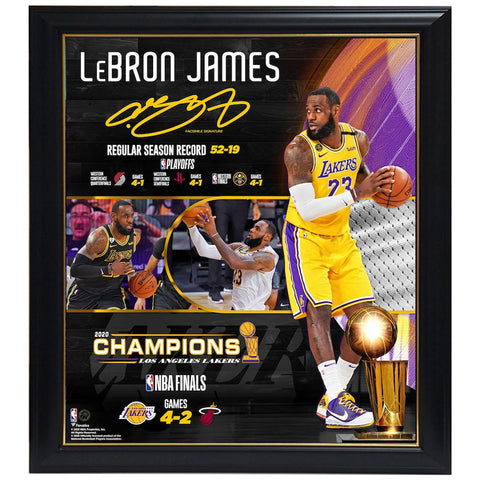 "Lebron James Los Angeles Lakers Fanatics Authentic Framed 15"" X 17"" 2020 Nba Finals Champions Collage Framed - 4575"